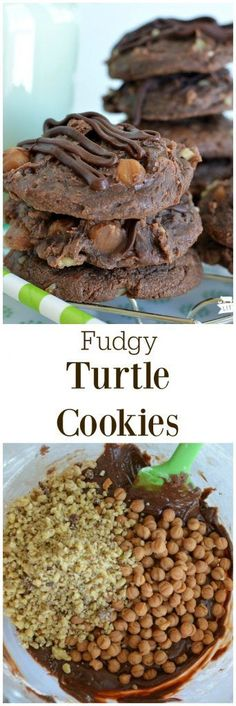 Fudgy Turtle Cookies are insanely packed with chocoalte, caramel, and turtles! A keeper easy recipe!