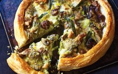 wild mushroom and artichoke flamiche recipe ~ a delicious puff-pastry tart with leeks, mushrooms, artichokes and gruyère