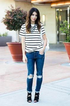 Distressed Jeans, Striped Tee | All Day Wear for Mom and Kids | spring fashion tips | spring style ideas | spring outfit ideas | warm weather fashion | how to wear a striped top | how to style a striped top || The Girl in the Yellow Dress