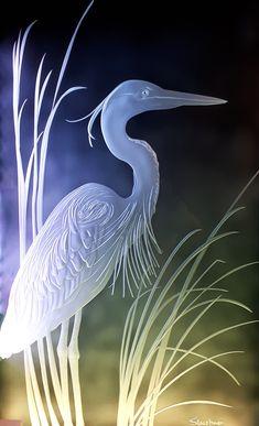 Great Blue Heron Sandcarved Art Glass by Stuebner Glass Design