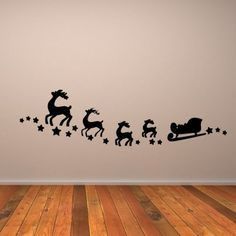 santas sleigh xmas wall stickers wall art decals - Christmas Wall Decal