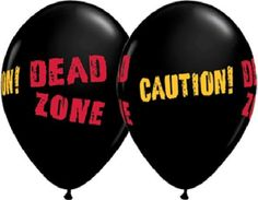 CAUTION DEAD ZONE Danger ZOMBIES Beware Walker 6 Party Latex Decoration Balloons #Qualatex