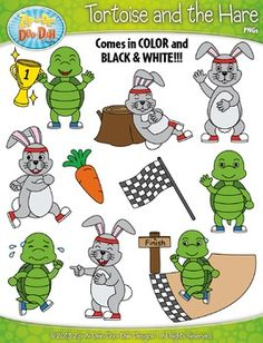 The Tortoise and The Hare Famous Fables Clip Art Set  Includes 30 Graphics!You will receive 30 clipart graphics that were hand drawn by myself  1 Hare Laughing, 1 Hare Sleeping, 1 Hare Waving, 1 Hare Yelling, 1 Race Flag, 1 Start Sign, 1 Tortoise Crossing Finish Line, 1 Tortoise Running, 1 Tortoise Sprinting, 1 Tortoise Winning, 1 Tortoise  Waving, 1 Tree Stump and 1 Trophy.