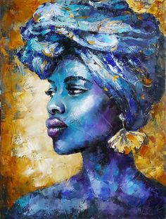 Painting Abstract portrait african woman, original oil art portreture - Blue Gold - portrait black girl, beautiful dark-skinned girl, female - Care - Skin care , beauty ideas and skin care tips Abstract Portrait Painting, Painting Of Girl, Portrait Art, Oil Painting On Canvas, Canvas Art, Woman Portrait, Figure Painting, Black Painting, Portrait Paintings
