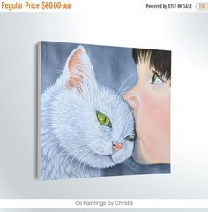 Kid with cat painting 8x8in oil painting by OilpaintingsChrista