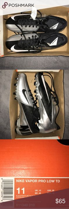 Nike vapor pro low TD BRAND NEW Football cleats Size:11( I'm a 10.5 and they fit perfectly;narrow).     Color: silver and black.                                           Condition:10-10 I was supposed to play in a men's league in the summer but it was cancelled so they hid in my room for awhile Nike Shoes Athletic Shoes