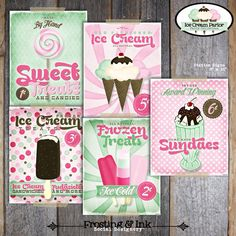 Ice Cream Party Signs Posters  (Vintage Inspired)