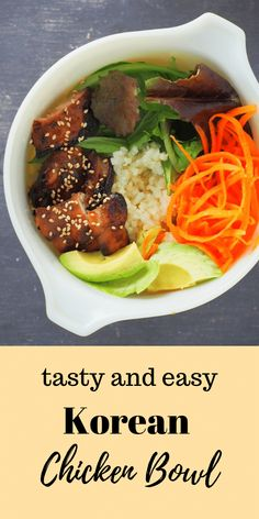 You will love this simple Korean Chicken Bowls complete with caramelized chicken, fresh vegetables and rice with a sweet savory drizzle sauce to top it all. Bacon Recipes, Grilling Recipes, Lunch Recipes, Easy Dinner Recipes, Slow Cooker Recipes, Easy Meals, Cooking Recipes, Savoury Recipes, Sweets Recipes
