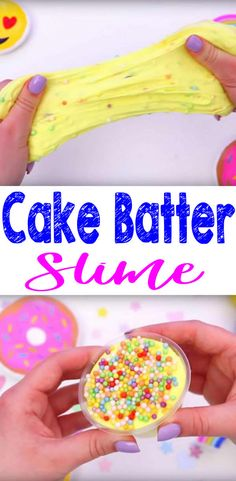 DIY Cake Batter Slime - How To Make Homemade Cake Batter Slime - Easy & Fun Recipe For Kids - Cake Batter Slime - fluffy & confetti slime - Party Favors - Crafts - yellow fluffy Slime! No borax slime that is great for party favors & birthday party activity for a slime theme party great for boys & girls! Learn how to make slime for fun kids crafts. Step by step instructions & slime pictures and Youtube slime tutorial. Fluffy Slime Recipe, Diy Fluffy Slime, Easy Slime Recipe, Healthy Food List, Healthy Snacks, Diy Stressball, Party Favors, Kids Diet, Partys