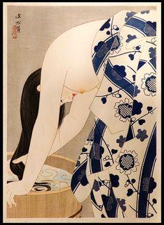 Ito Shinsui, Washing The Hair, (Japanese Woodblock Print)