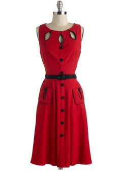 Swell-Heeled Dress in Ruby A-line. Prove that youre the classiest retro reveler around when you make your rounds in this belted, rockabilly dress! #red #modcloth