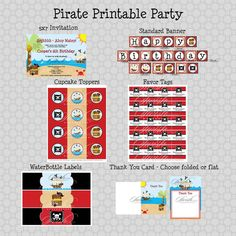 Pirate Birthday Party Package:  Printable DIY Includes custom 5x7 invite, favor tags, cupcake toppers, water bottle labels and more #pirates #SwishPrintables $40