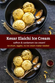 No Churn Ice Cream flavored with saffron and cardamom, this Kesar Elaichi Ice Cream makes a wonderful summer treat and is so easy to make! #icecream