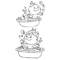 Shery K Designs: Free Digi Stamps | Baby in Tub