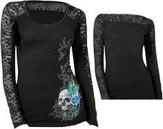 Lethal Threat LT20329M Women's Feather Skull T-shirt Medium Black