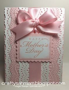 Fancy Mother's Day Card--Would also make a great Baby Card or Valentine - Wendy Schultz ~ Cards Cricut Cards, Stampin Up Cards, Pretty Cards, Cute Cards, Holiday Cards, Christmas Cards, Anna Griffin Cards, Embossed Cards, Fathers Day Cards