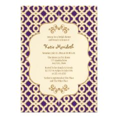 Purple and Gold Moroccan Bridal Shower Invites