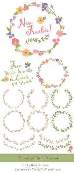 New August Freebie! Grab these pretty vector wreaths, laurels and branches for free!