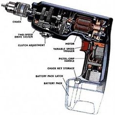 Important components of the handyman toolkit, in some way the impact driver is superior to a cordless Used Drill/Driver. The impact drill dr Electrical Projects, Electrical Installation, Electrical Wiring, Engineering Tools, Electrical Engineering, Cordless Tools, Cordless Drill, Cool Electronics, Electronics Projects