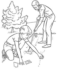 Farm Work and Chores coloring page | Planting a garden