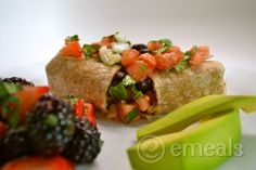 black bean burritos with berry salad. yum!