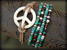 Turquoise Bracelet - Stretch Bracelets - Hippie Bracelet - Peace Bracelet - Leather Bracelet - Beaded Bracelets - Boho Bracelets