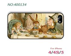 iPhone 5/5S/5C Case, iPhone 4/4SCase, Alice in Wonderland, Phone Cases, iPhone Case, Mad Hatter Tea Party in Color, Case for iPhone-400134