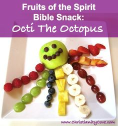 "How about a fun new way to talk to kids about the Fruits of the Spirit? I call this craft/snack/Bible lesson hybrid ""Octi the Octopus"". Kids get to watch Octi grow his legs as they understand how the fruits of the spirit grow in our hearts."