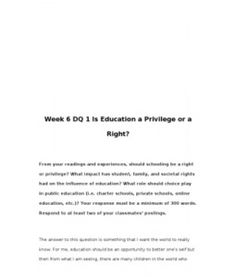 Education: a Right or a Privilege? Essay