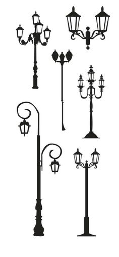 KLDezign SVG free - Street lights and lamp post Silhouette Cameo, Silhouette Images, Silhouette Portrait, Silhouette Files, Silhouette Projects, Street Lamp, Digital Stamps, Paper Art, Silhouettes