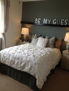 "love the idea of the shelf with the saying ""be our guest""…great guest room idea. Can't wait to decorate my future new house!"