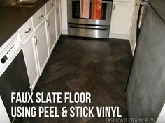 Get the look of a slate floor by cutting down Vinyl Peel and Stick Tile.  This Herringbone Floor pattern looks awesome!