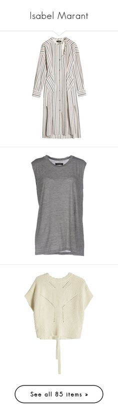 """""""Isabel Marant"""" by stacy-hardy ❤ liked on Polyvore featuring dresses, stripes, white high low dress, white striped dress, white hi low dress, hi lo dresses, long sleeve cotton dress, tops, t-shirts and grey"""