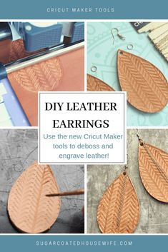 What are the Cricut Maker's Tools? When the Cricut Maker was launched 2 years ago, Cricut promised that they would come out with new tools and materials so the Maker would grow with creators… Diy Leather Earrings, Diy Earrings, Leather Jewelry, Hoop Earrings, Diy Leather Projects, Leather Diy Crafts, Handmade Leather, Vintage Leather, Diy Leather Gifts