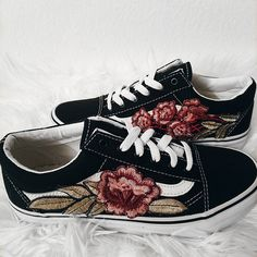 LOW TOP Unisex Custom Rose Floral Embroidered Vans Old-Skool Sneakers ($120) ❤ liked on Polyvore featuring shoes, sneakers, rosette shoes, blossom shoes, vans sneakers, flower sneakers and unisex shoes