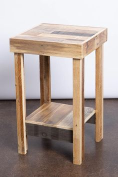 beautiful reclaimed wood nightstand end accent entry side Pallet Patio Furniture, Woodworking Furniture, Unique Furniture, Furniture Plans, Rustic Furniture, Diy Furniture, Woodworking Tools, Youtube Woodworking, Woodworking Equipment