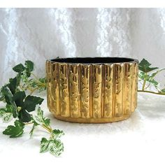 Mid Century Modern Ceramic Planter Collectible Planter Bowl Hollywood Regency Ceramic Bowl Elegant Decor Porcelain Bowl 24K Gold Weeping ($26) found on Polyvore featuring home, home decor, ceramic home decor, gold bowl, gold home accessories, ceramic planters and porcelain planter