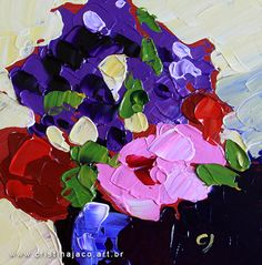 Floral painting yellow background purple red pink by cristinajaco