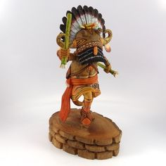 """Hand Carved Broadface Whipper (Wuyak-Kuita) Kachina Holding Yucca Whips. 6"""" Doll Height, 8.5"""" Overall Height"""