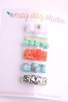 newborn baby/girls bitty hair clips collection - boutique ribbon bow baby snap clip set - white mint coral silver - tiny snap clips
