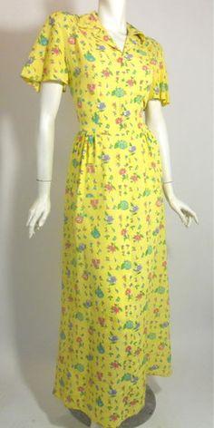 Yellow Cotton Rose Print Dressing Gown circa 1940s - Dorothea's Closet Vintage