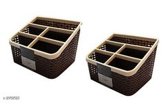 Racks & Holders Online Choice Multipurpose Storage Box/Pen/Remote Control/Mobile Stand - Combo Pack of 2 (Brown)   Material: Plastic Size (L X W X H):  20 cm x 20 cm x 13 cm  Compartment: 10 Description: It Has 2 Piece Of Multi Purpose Storage Box Country of Origin: India Sizes Available: Free Size   Catalog Rating: ★4 (441)  Catalog Name: Layered Multi Purpose Plastic Shelf Rack Vol 1 CatalogID_402482 C130-SC1640 Code: 903-2952523-126