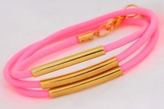 Neon Wrap Tube Bracelet, Gold and Neon Pink by Kiki + Naomi on Little Paper Planes $12