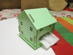 DIY Kit Wooden House Desk tissue toilet roll paper holder Organizer storage box