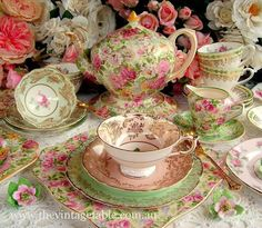 Love this pink and green mismatched tea set...