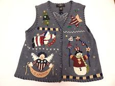 Women's Blue Noel Ugly Christmas Sweater Vest Holiday Snowman Santa Size Medium