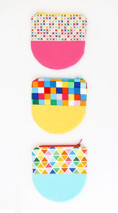 color clocked curved bottom zipper pouch -- sewing tutorial