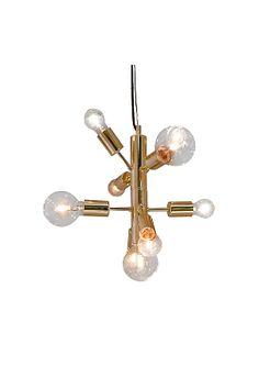 Korkeus 150 cm, ø 30 cm. Musta johto 1,2 m. Isot lampunkannat 9xE27, enintään 30 W. Design: Katarina Dahl.