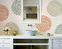 STENCIL for Walls - Chrysanthemum no. 2 - Flower stencil for Walls - Reusable Modern Wall Decor on Etsy, $34.95