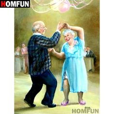 DPF DIY The old man to dance crafts diamond embroidery wall painting diamond masaic home decor diamond painting cross stitch Vieux Couples, Old Couples, Photo Humour, Grow Old With Me, Growing Old Together, Old Folks, The Golden Years, Cartoon People, Old Age